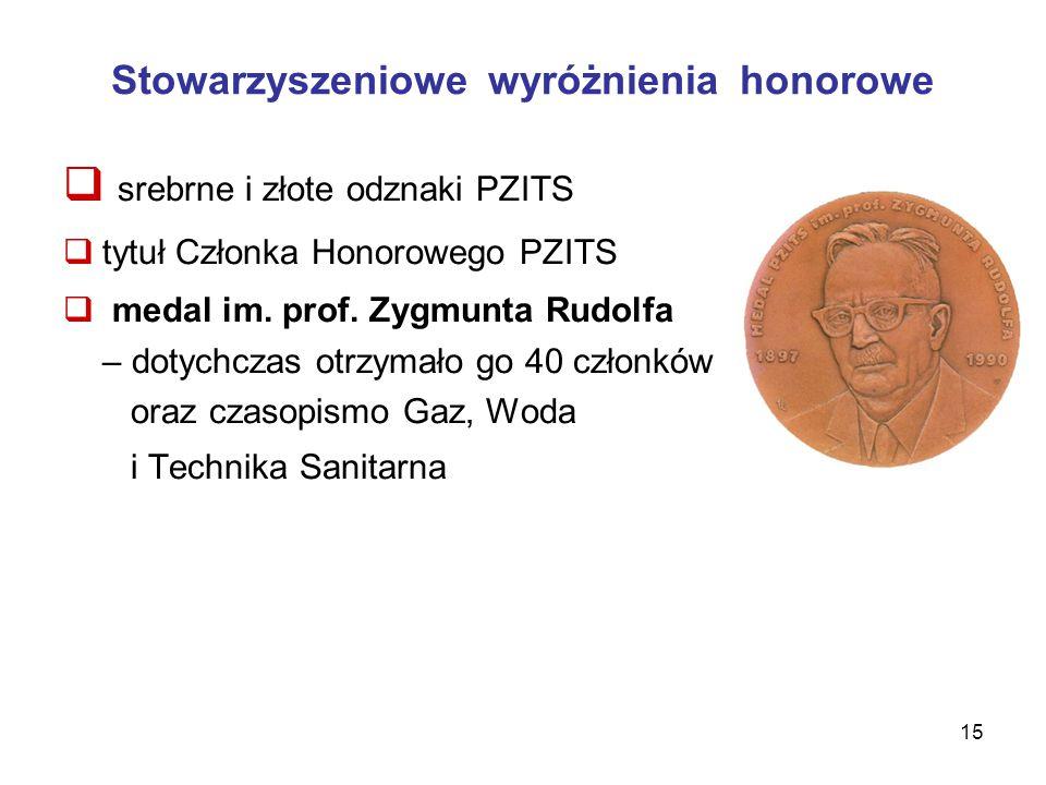 Stowarzyszeniowe wyróżnienia honorowe  srebrne i złote odznaki PZITS  tytuł Członka Honorowego PZITS  medal im.