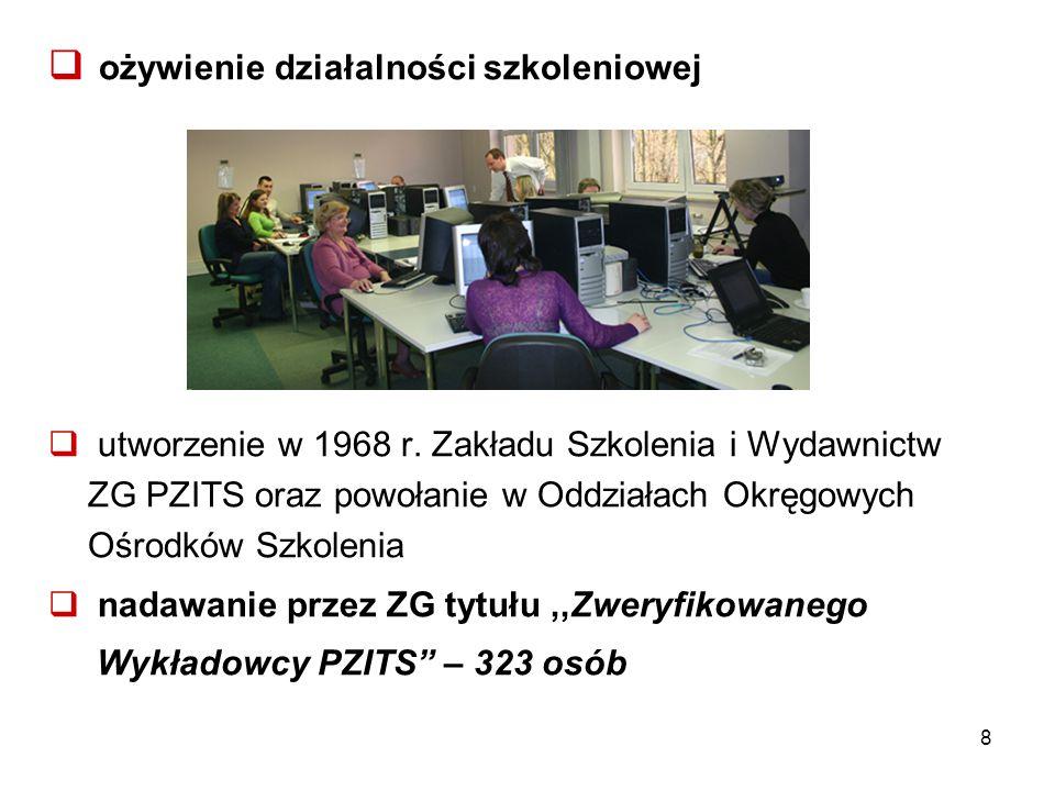  ożywienie działalności szkoleniowej  utworzenie w 1968 r. Zakładu Szkolenia i Wydawnictw ZG PZITS oraz powołanie w Oddziałach Okręgowych Ośrodków S