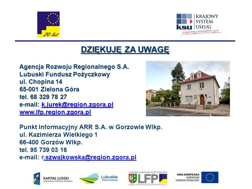 DZIĘKUJĘ ZA UWAGĘ Agencja Rozwoju Regionalnego S.A. Lubuski Fundusz Pożyczkowy ul. Chopina 14 65-001 Zielona Góra tel. 68 329 78 27 e-mail: k.jurek@re