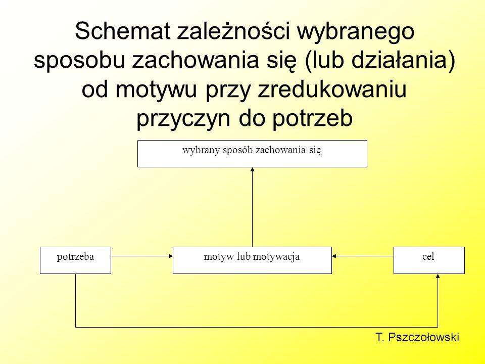 Schemat zależności wybranego sposobu zachowania się (lub działania) od motywu przy zredukowaniu przyczyn do potrzeb wybrany sposób zachowania się potr