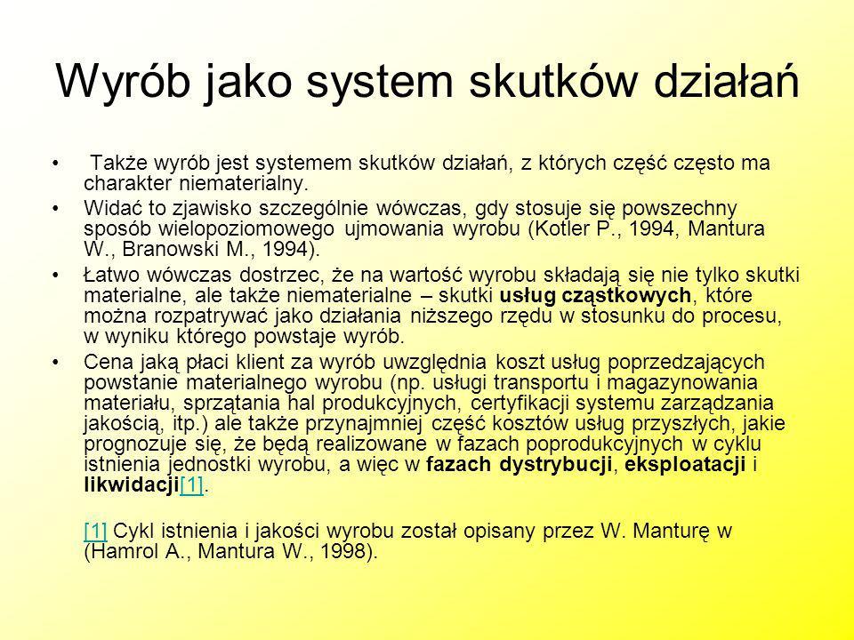 Wyrób jako system skutków działań Także wyrób jest systemem skutków działań, z których część często ma charakter niematerialny. Widać to zjawisko szcz