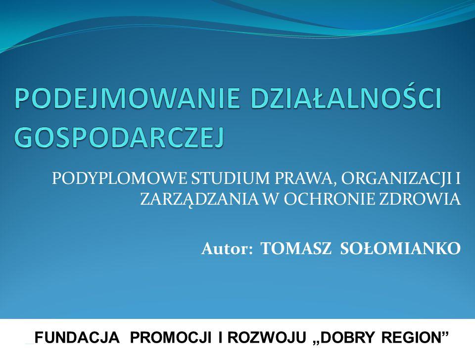 Podejmowanie, wykonywanie i zakończenie działalności gospodarczej w Polsce Konspekt zajęć Podstawy prawne podejmowania, wykonywania i zakończenia działalności gospodarczej w Polsce – istota i przedmiot ustawy o swobodzie działalności gospodarczej Pojęcie działalności gospodarczej i przedsiębiorcy w świetle prawa UE oraz prawa polskiego Legalizacja działalności gospodarczej, ze szczególnym uwzględnieniem Ewidencji Działalności Gospodarcze, w tym: 1) nabycie i utrata statusu prawnego przedsiębiorcy, 2) istota i rola legalizacji działalności gospodarczej, 3) środki legalizacji działalności gospodarczej, funkcjonowanie EDG (koncepcja CEIDG) – organy ewidencyjne, wnioski, terminy, odpłatności Podstawowe obowiązki i uprawnienia przedsiębiorcy Istota i podstawowe formy reglamentacji działalności gospodarczej w Polsce, ze szczególnym uwzględnieniem regulowanej działalności gospodarczej Kontrola działalności gospodarczej przedsiębiorcy, w tym: 1) istota i zakres kontroli, 2) organy kontroli, 3) zasady kontroli