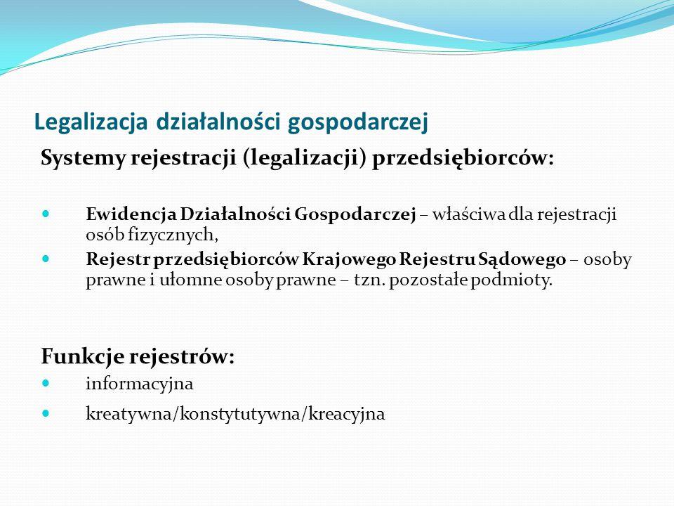 Legalizacja działalności gospodarczej Systemy rejestracji (legalizacji) przedsiębiorców: Ewidencja Działalności Gospodarczej – właściwa dla rejestracj