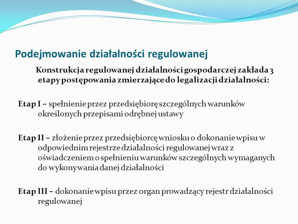 Podejmowanie działalności regulowanej Konstrukcja regulowanej działalności gospodarczej zakłada 3 etapy postępowania zmierzające do legalizacji działa
