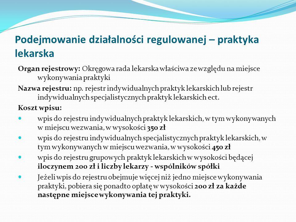 Podejmowanie działalności regulowanej – praktyka lekarska Organ rejestrowy: Okręgowa rada lekarska właściwa ze względu na miejsce wykonywania praktyki