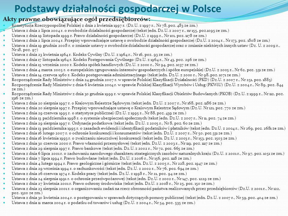 Podstawy działalności gospodarczej w Polsce Akty prawne obowiązujące ogół przedsiębiorców: Konstytucja Rzeczypospolitej Polskiej z dnia 2 kwietnia 199