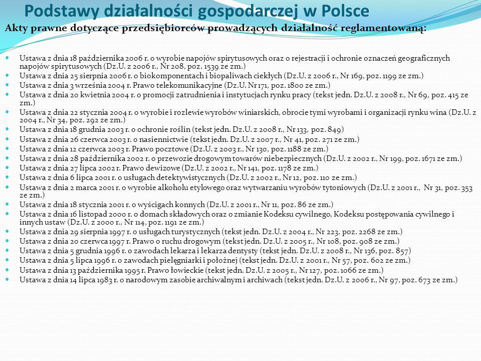 Podstawy działalności gospodarczej w Polsce Akty prawne dotyczące przedsiębiorców prowadzących działalność reglamentowaną (zezwolenia, licencje i zgody): Ustawa z dnia 26 października 1982 r.