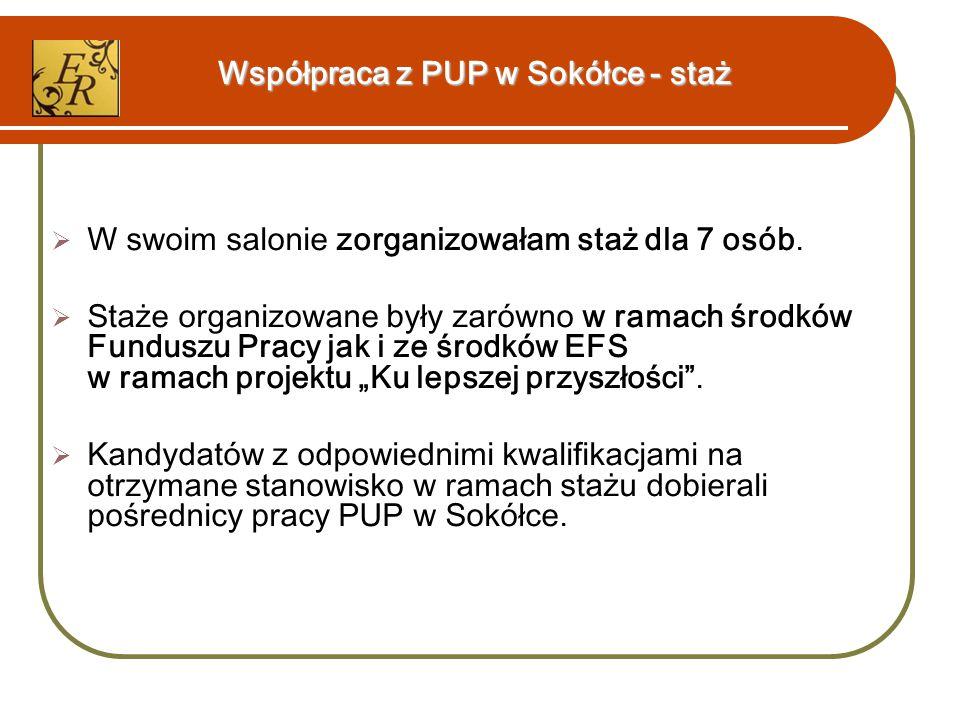 Współpraca z PUP w Sokółce - staż  W swoim salonie zorganizowałam staż dla 7 osób.