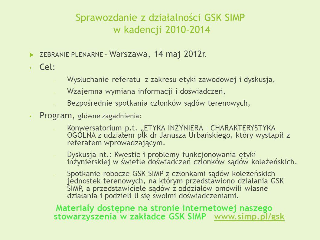 Sprawozdanie z działalności GSK SIMP w kadencji 2010-2014  ZEBRANIE PLENARNE – Warszawa, 14 maj 2012r.