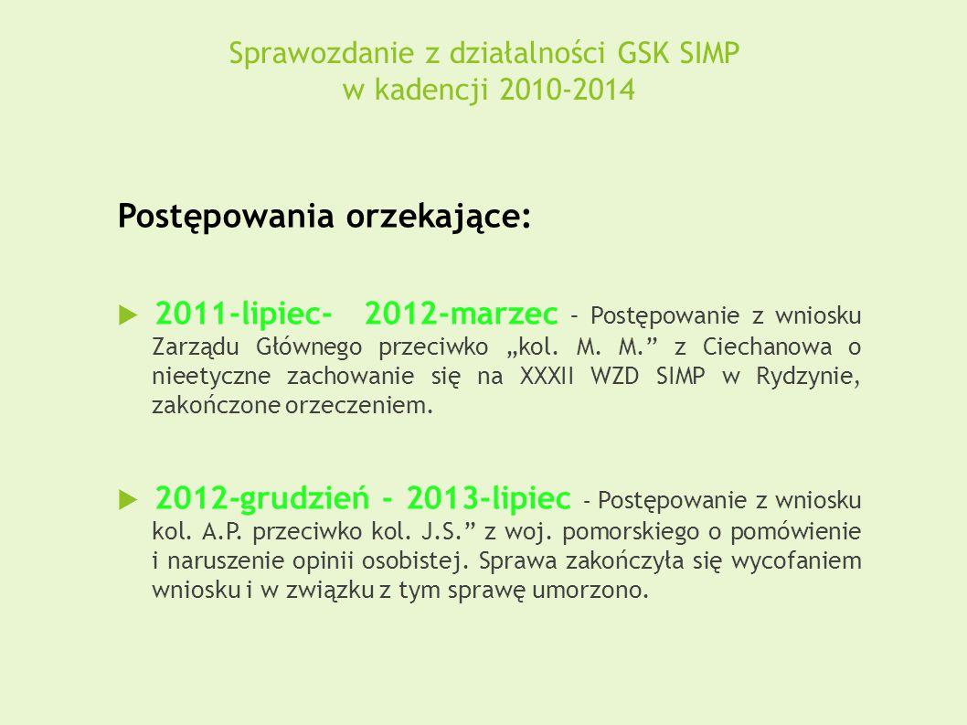 Sprawozdanie z działalności GSK SIMP w kadencji 2010-2014 Postępowania orzekające:  2011-lipiec- 2012-marzec – Postępowanie z wniosku Zarządu Główneg