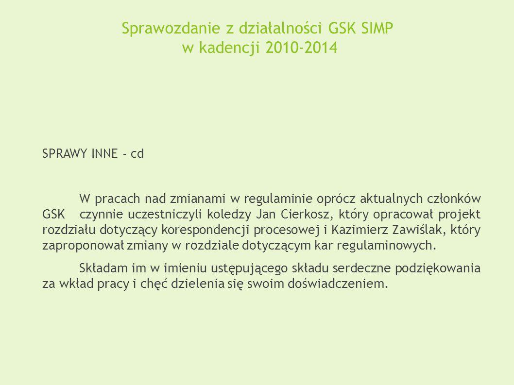 Sprawozdanie z działalności GSK SIMP w kadencji 2010-2014 SPRAWY INNE - cd W pracach nad zmianami w regulaminie oprócz aktualnych członków GSK czynnie