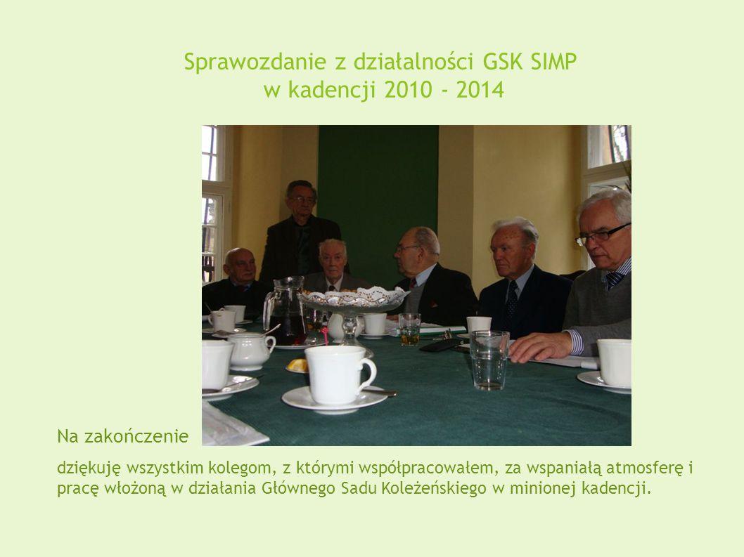 Sprawozdanie z działalności GSK SIMP w kadencji 2010 - 2014 Na zakończenie dziękuję wszystkim kolegom, z którymi współpracowałem, za wspaniałą atmosferę i pracę włożoną w działania Głównego Sadu Koleżeńskiego w minionej kadencji.