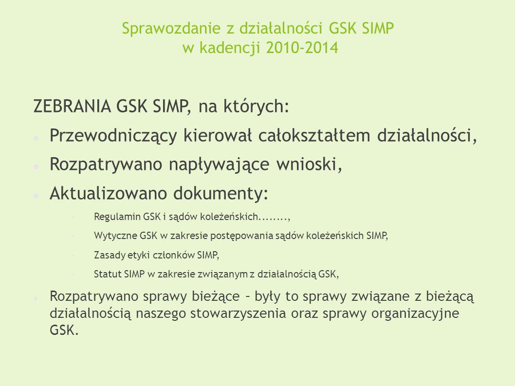 Sprawozdanie z działalności GSK SIMP w kadencji 2010-2014 ZEBRANIA GSK SIMP, na których: Przewodniczący kierował całokształtem działalności, Rozpatryw