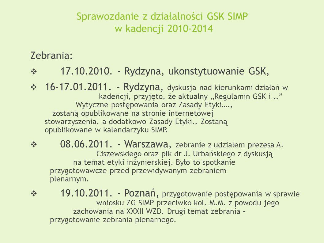 Sprawozdanie z działalności GSK SIMP w kadencji 2010-2014 Zebrania:  17.10.2010. - Rydzyna, ukonstytuowanie GSK,  16-17.01.2011. - Rydzyna, dyskusja