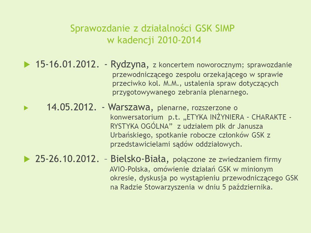 Sprawozdanie z działalności GSK SIMP w kadencji 2010-2014  15-16.01.2012. - Rydzyna, z koncertem noworocznym; sprawozdanie przewodniczącego zespołu o