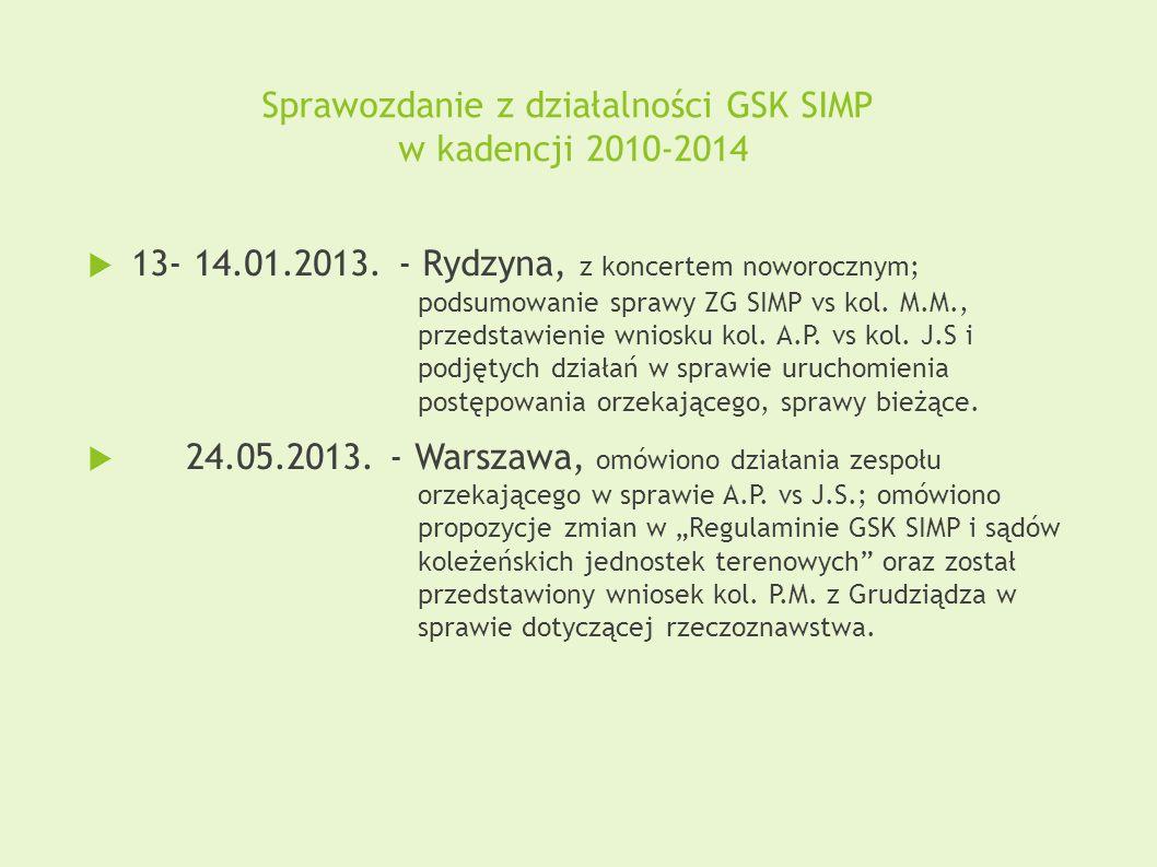 Sprawozdanie z działalności GSK SIMP w kadencji 2010-2014  13- 14.01.2013. - Rydzyna, z koncertem noworocznym; podsumowanie sprawy ZG SIMP vs kol. M.