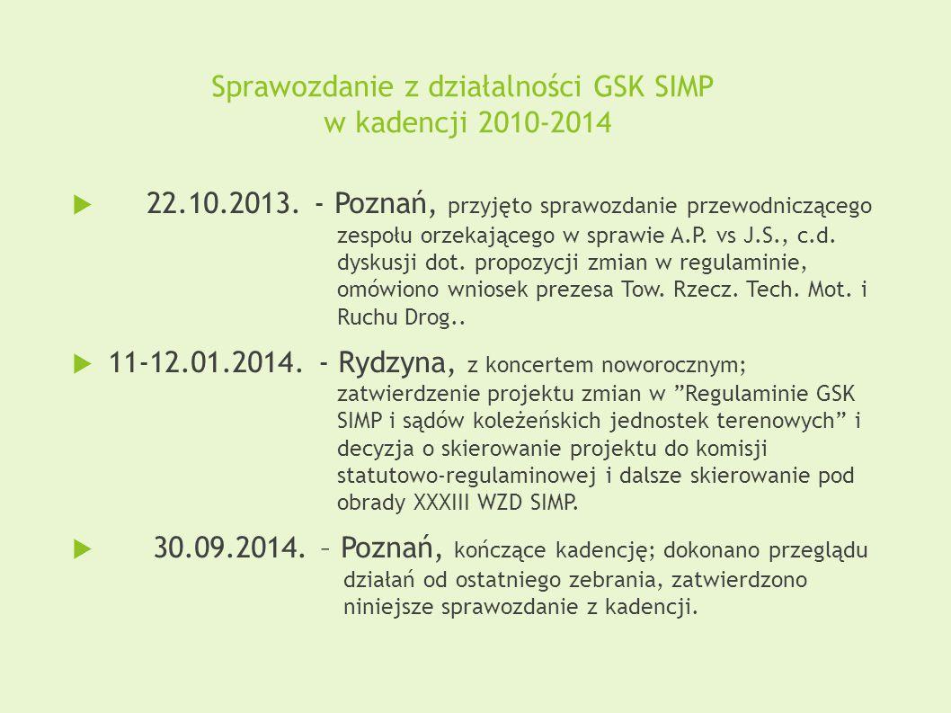 Sprawozdanie z działalności GSK SIMP w kadencji 2010-2014  22.10.2013. - Poznań, przyjęto sprawozdanie przewodniczącego zespołu orzekającego w sprawi