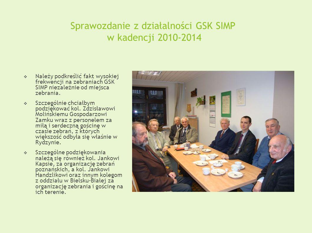 Sprawozdanie z działalności GSK SIMP w kadencji 2010-2014  Należy podkreślić fakt wysokiej frekwencji na zebraniach GSK SIMP niezależnie od miejsca zebrania.