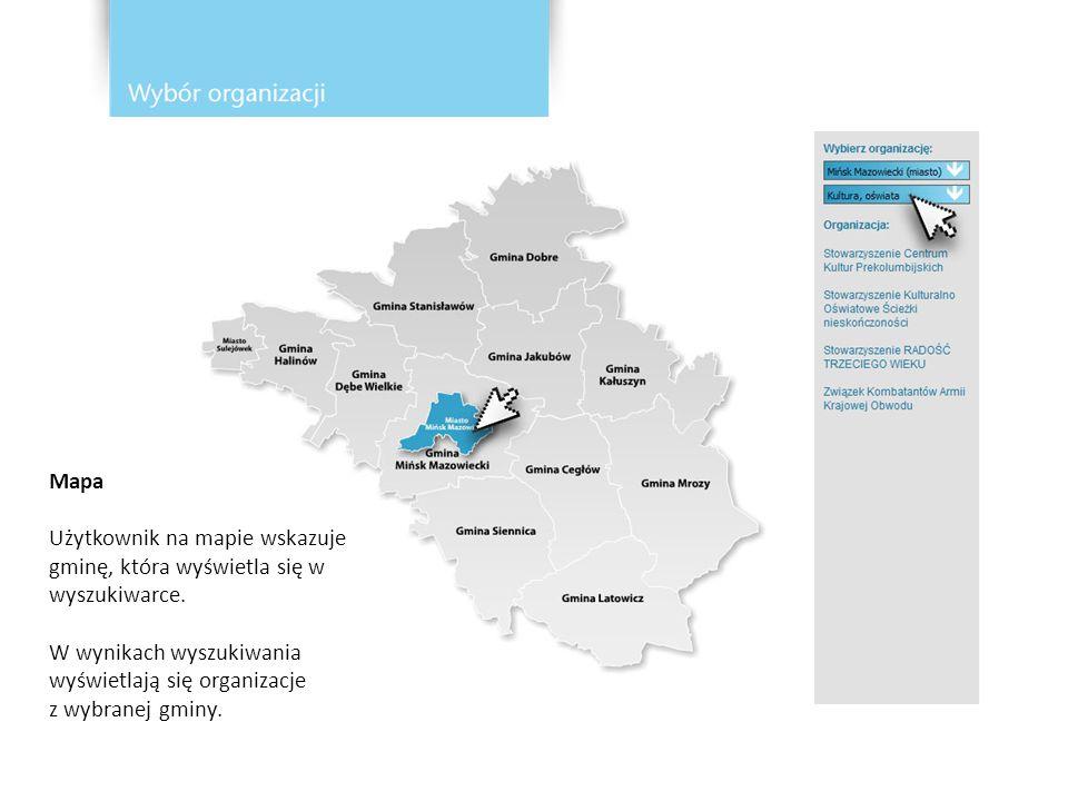 Mapa Użytkownik na mapie wskazuje gminę, która wyświetla się w wyszukiwarce.