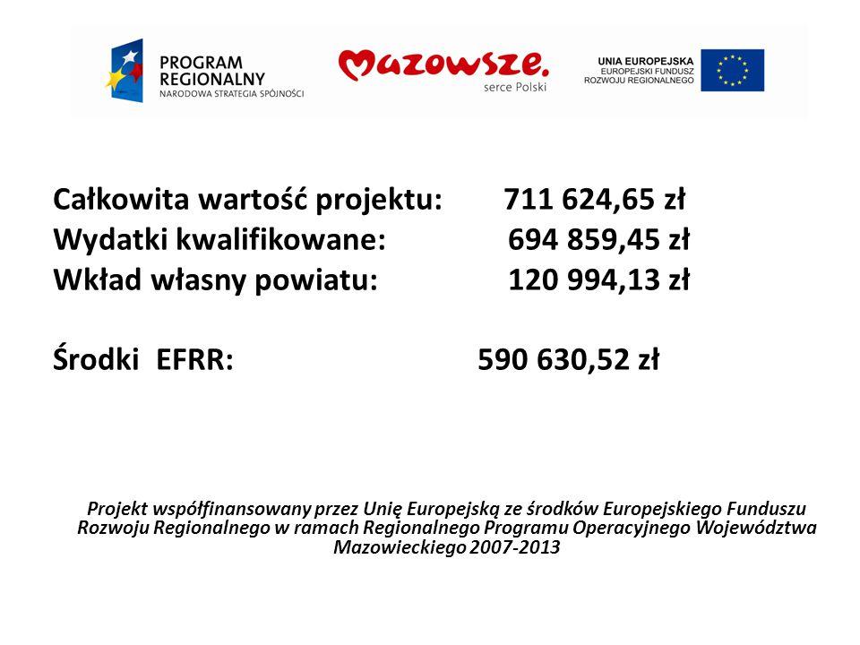 Projekt współfinansowany przez Unię Europejską ze środków Europejskiego Funduszu Rozwoju Regionalnego w ramach Regionalnego Programu Operacyjnego Województwa Mazowieckiego 2007-2013 Całkowita wartość projektu: 711 624,65 zł Wydatki kwalifikowane: 694 859,45 zł Wkład własny powiatu: 120 994,13 zł Środki EFRR: 590 630,52 zł