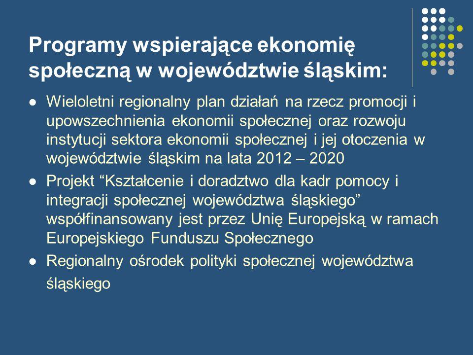 Programy wspierające ekonomię społeczną w województwie śląskim: Wieloletni regionalny plan działań na rzecz promocji i upowszechnienia ekonomii społecznej oraz rozwoju instytucji sektora ekonomii społecznej i jej otoczenia w województwie śląskim na lata 2012 – 2020 Projekt Kształcenie i doradztwo dla kadr pomocy i integracji społecznej województwa śląskiego współfinansowany jest przez Unię Europejską w ramach Europejskiego Funduszu Społecznego Regionalny ośrodek polityki społecznej województwa śląskiego