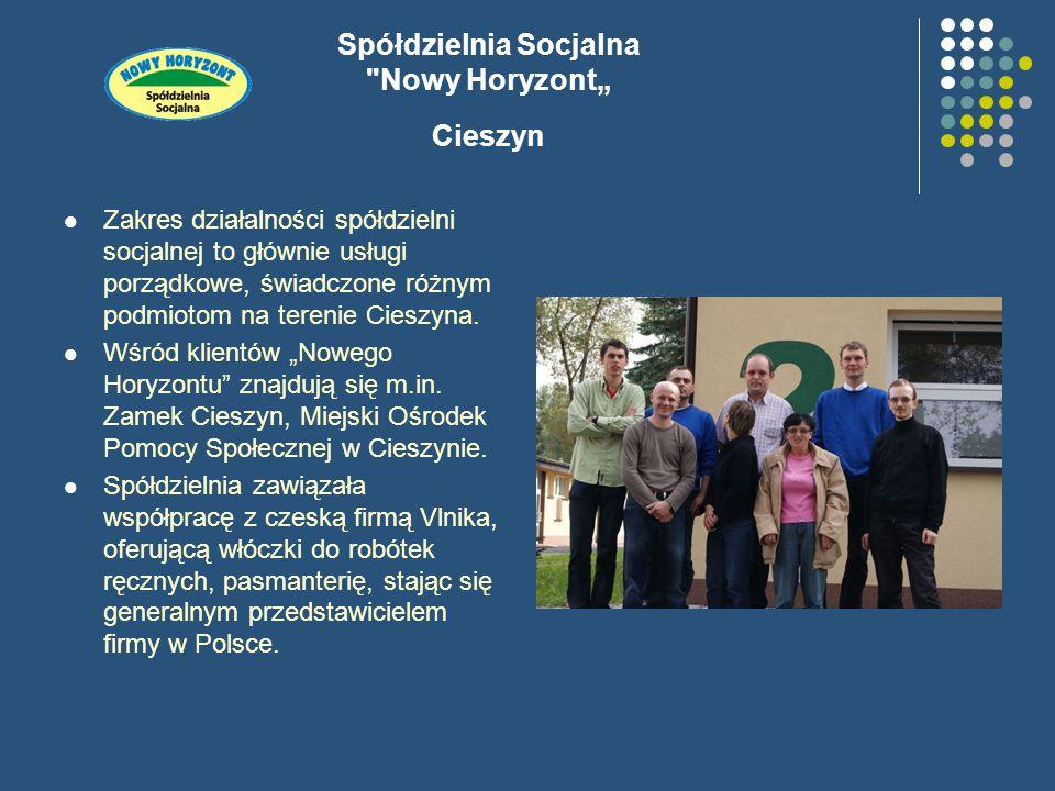 """Spółdzielnia Socjalna Nowy Horyzont"""" Cieszyn Zakres działalności spółdzielni socjalnej to głównie usługi porządkowe, świadczone różnym podmiotom na terenie Cieszyna."""