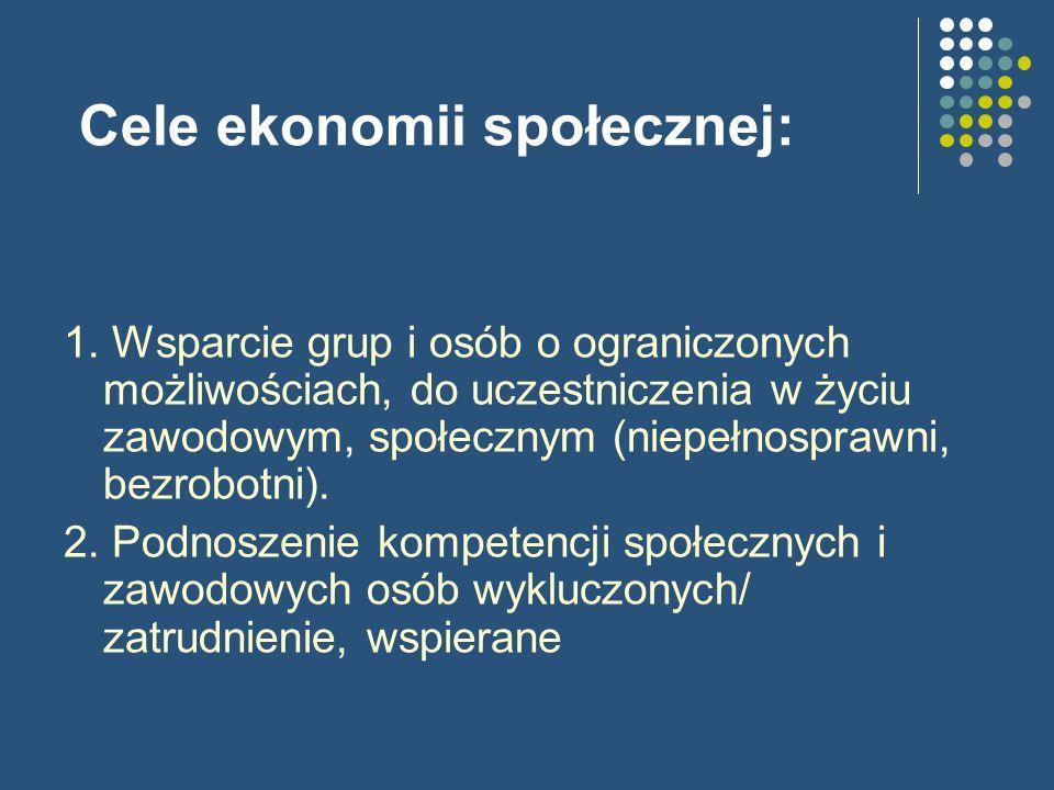 Cele ekonomii społecznej: 1.