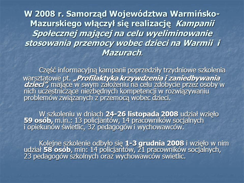 W 2008 r. Samorząd Województwa Warmińsko- Mazurskiego włączył się realizację Kampanii Społecznej mającej na celu wyeliminowanie stosowania przemocy wo