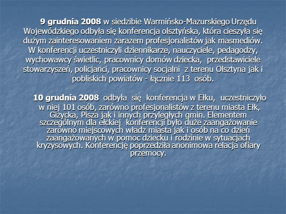 9 grudnia 2008 w siedzibie Warmińsko-Mazurskiego Urzędu Wojewódzkiego odbyła się konferencja olsztyńska, która cieszyła się dużym zainteresowaniem zarazem profesjonalistów jak masmediów.