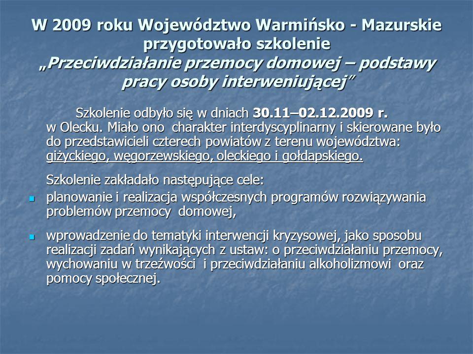 """W 2009 roku Województwo Warmińsko - Mazurskie przygotowało szkolenie """"Przeciwdziałanie przemocy domowej – podstawy pracy osoby interweniującej Szkolenie odbyło się w dniach 30.11–02.12.2009 r."""