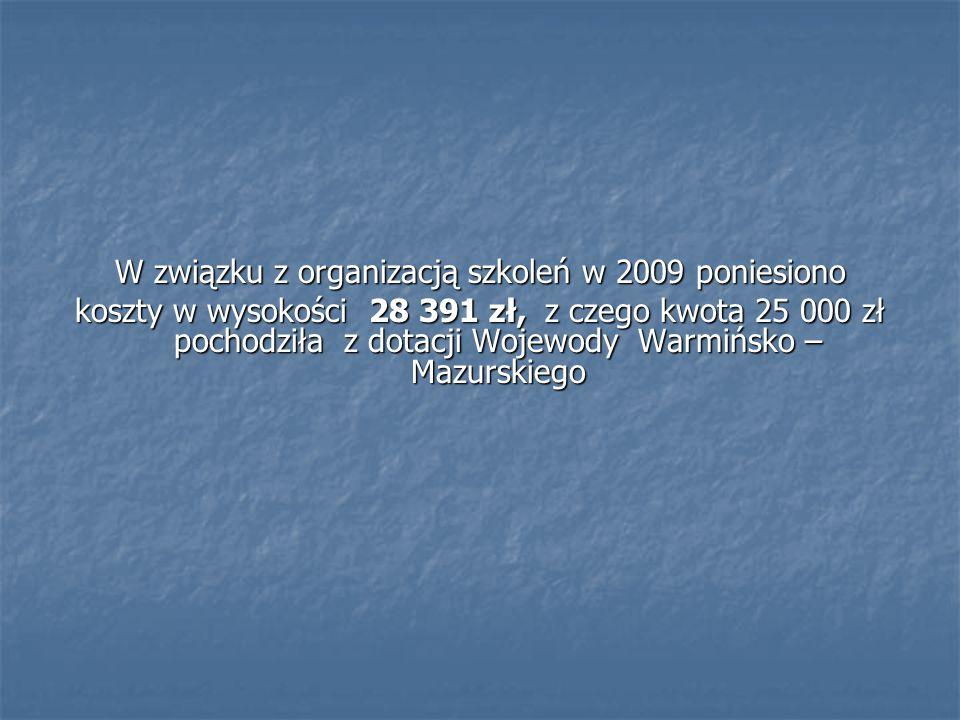 W związku z organizacją szkoleń w 2009 poniesiono koszty w wysokości 28 391 zł, z czego kwota 25 000 zł pochodziła z dotacji Wojewody Warmińsko – Mazu