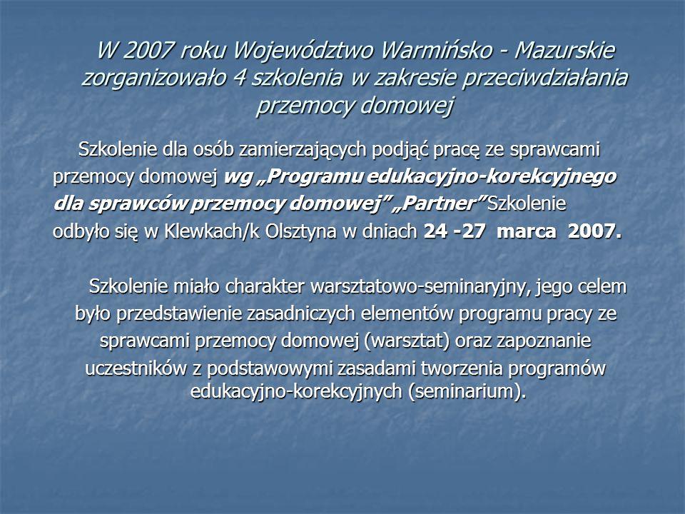 """W 2007 roku Województwo Warmińsko - Mazurskie zorganizowało 4 szkolenia w zakresie przeciwdziałania przemocy domowej Szkolenie dla osób zamierzających podjąć pracę ze sprawcami przemocy domowej wg """"Programu edukacyjno-korekcyjnego dla sprawców przemocy domowej """"Partner Szkolenie odbyło się w Klewkach/k Olsztyna w dniach 24 -27 marca 2007."""