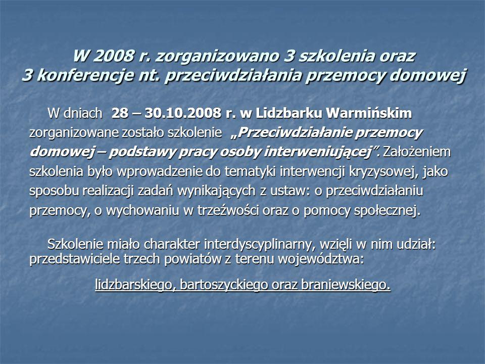 W 2008 r. zorganizowano 3 szkolenia oraz 3 konferencje nt. przeciwdziałania przemocy domowej W dniach 28 – 30.10.2008 r. w Lidzbarku Warmińskim zorgan