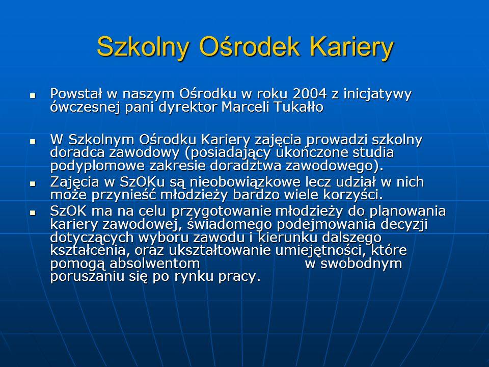 Szkolny Ośrodek Kariery Powstał w naszym Ośrodku w roku 2004 z inicjatywy ówczesnej pani dyrektor Marceli Tukałło Powstał w naszym Ośrodku w roku 2004
