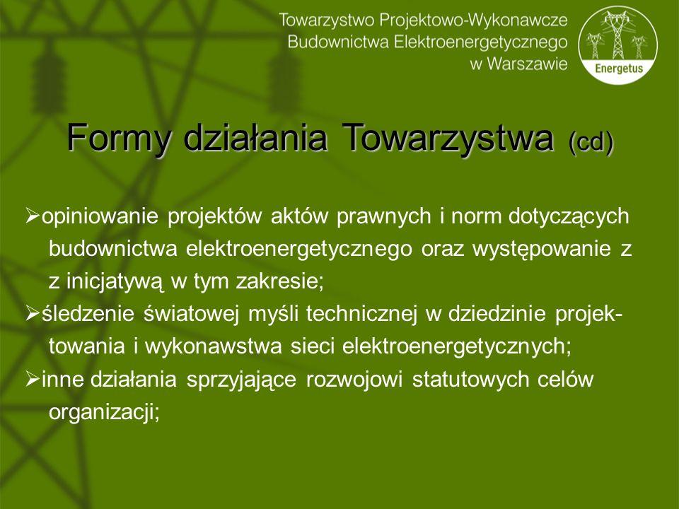 Formy działania Towarzystwa (cd)  opiniowanie projektów aktów prawnych i norm dotyczących budownictwa elektroenergetycznego oraz występowanie z z ini