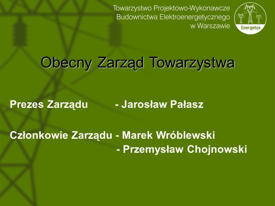 Obecny Zarząd Towarzystwa Prezes Zarządu - Jarosław Pałasz Członkowie Zarządu - Marek Wróblewski - Przemysław Chojnowski