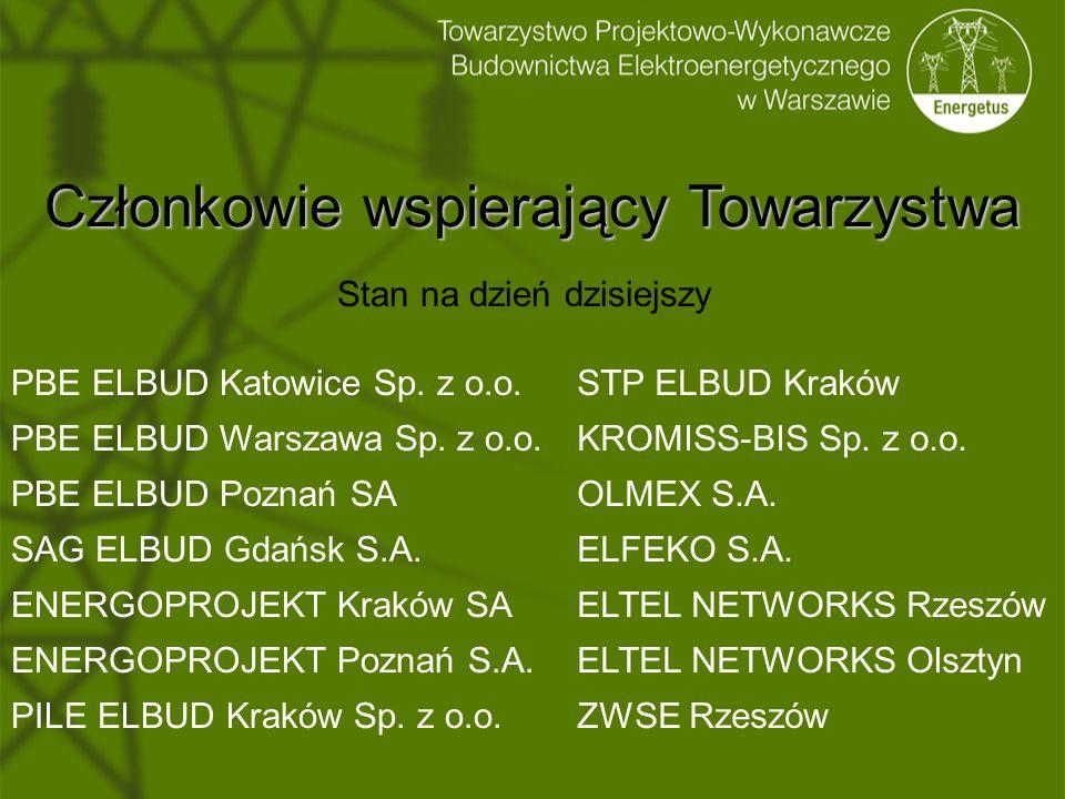 Członkowie wspierający Towarzystwa Stan na dzień dzisiejszy PBE ELBUD Katowice Sp. z o.o. PBE ELBUD Warszawa Sp. z o.o. PBE ELBUD Poznań SA SAG ELBUD