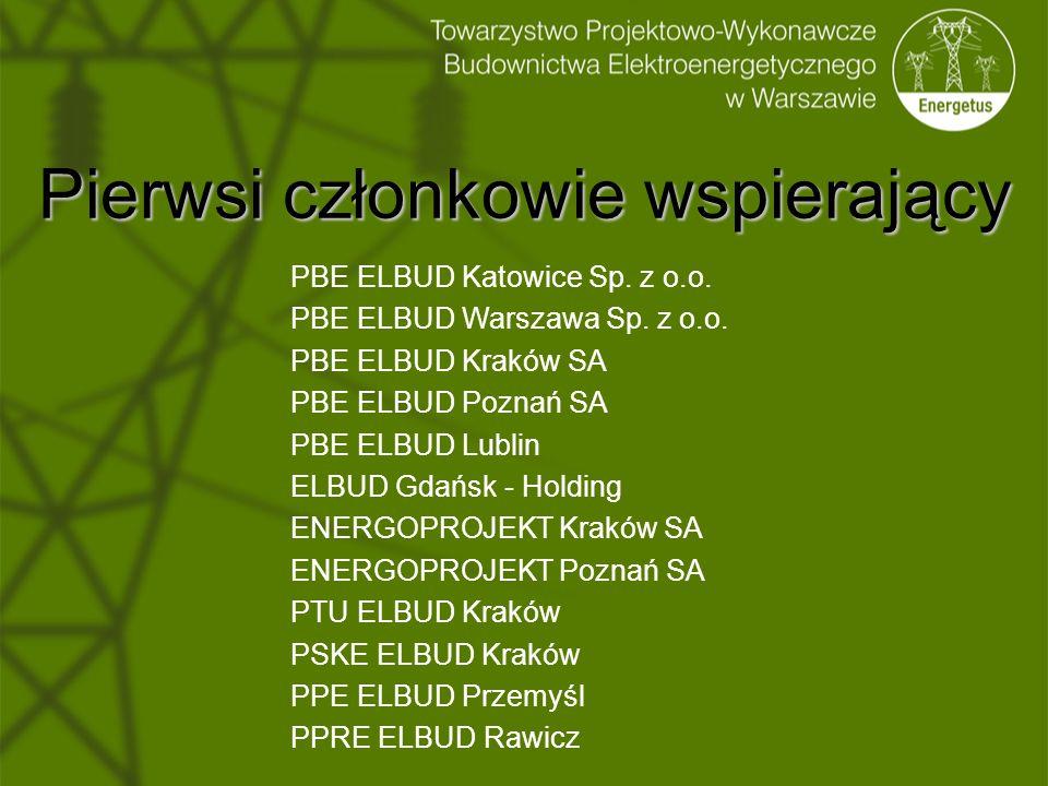 Pierwsi członkowie wspierający PBE ELBUD Katowice Sp. z o.o. PBE ELBUD Warszawa Sp. z o.o. PBE ELBUD Kraków SA PBE ELBUD Poznań SA PBE ELBUD Lublin EL
