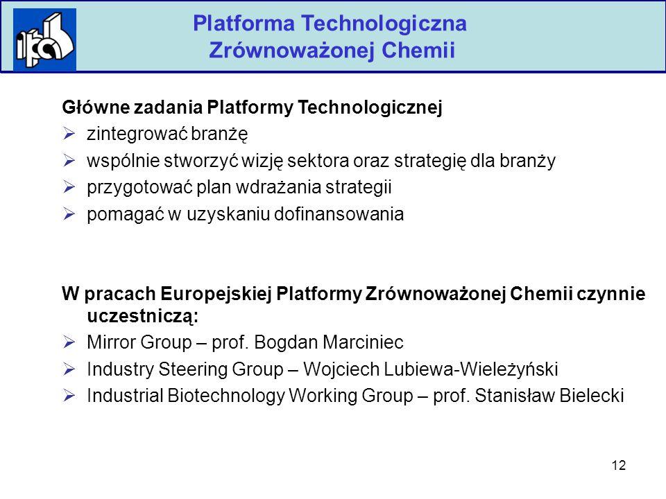 12 Polska Izba Przemysłu Chemicznego Platforma Technologiczna Zrównoważonej Chemii Główne zadania Platformy Technologicznej  zintegrować branżę  wspólnie stworzyć wizję sektora oraz strategię dla branży  przygotować plan wdrażania strategii  pomagać w uzyskaniu dofinansowania W pracach Europejskiej Platformy Zrównoważonej Chemii czynnie uczestniczą:  Mirror Group – prof.