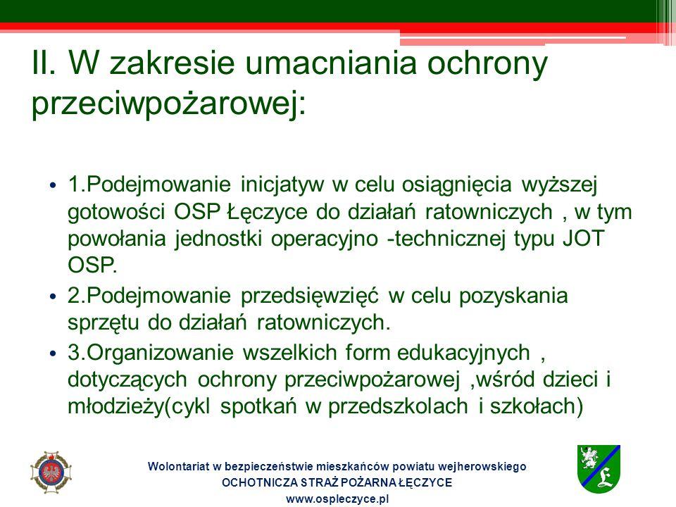 II. W zakresie umacniania ochrony przeciwpożarowej: 1.Podejmowanie inicjatyw w celu osiągnięcia wyższej gotowości OSP Łęczyce do działań ratowniczych,