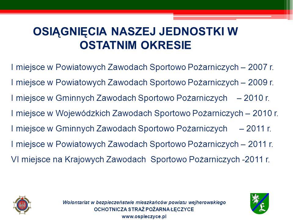 Miejsce na opis i zdjęcia oraz skany osiągnięć (co, jak i za co?) Wolontariat w bezpieczeństwie mieszkańców powiatu wejherowskiego OCHOTNICZA STRAŻ POŻARNA ŁĘCZYCE www.ospleczyce.pl