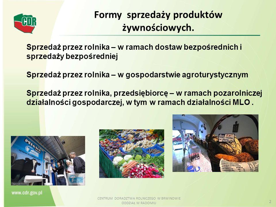 CENTRUM DORADZTWA ROLNICZEGO W BRWINOWIE ODDZIAŁ W RADOMIU 2 Formy sprzedaży produktów żywnościowych. Sprzedaż przez rolnika – w ramach dostaw bezpośr
