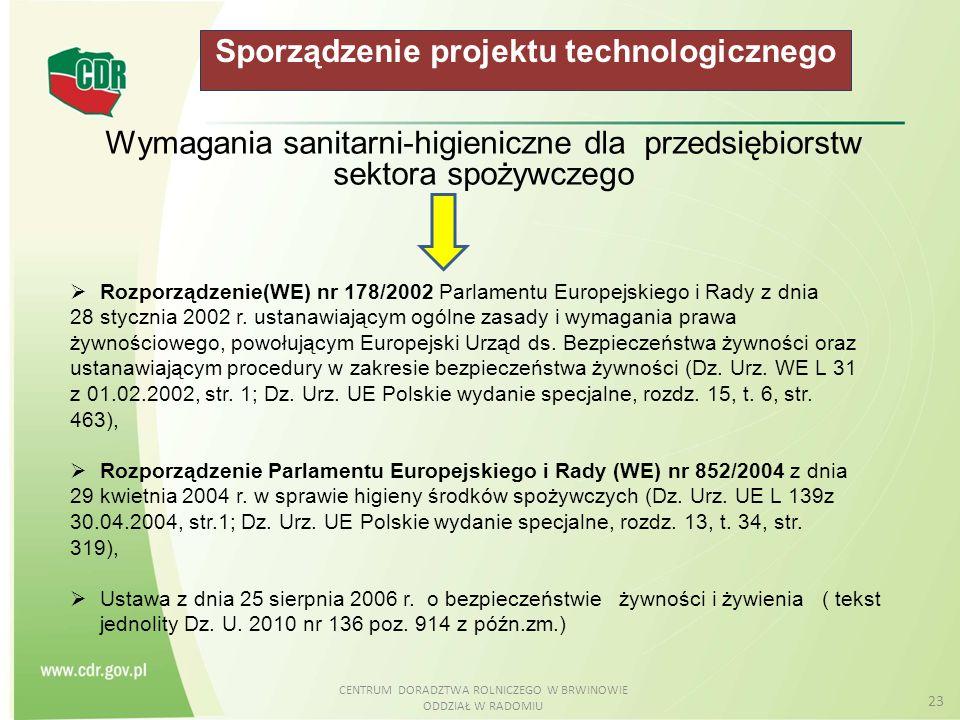 CENTRUM DORADZTWA ROLNICZEGO W BRWINOWIE ODDZIAŁ W RADOMIU 23 Sporządzenie projektu technologicznego Wymagania sanitarni-higieniczne dla przedsiębiors