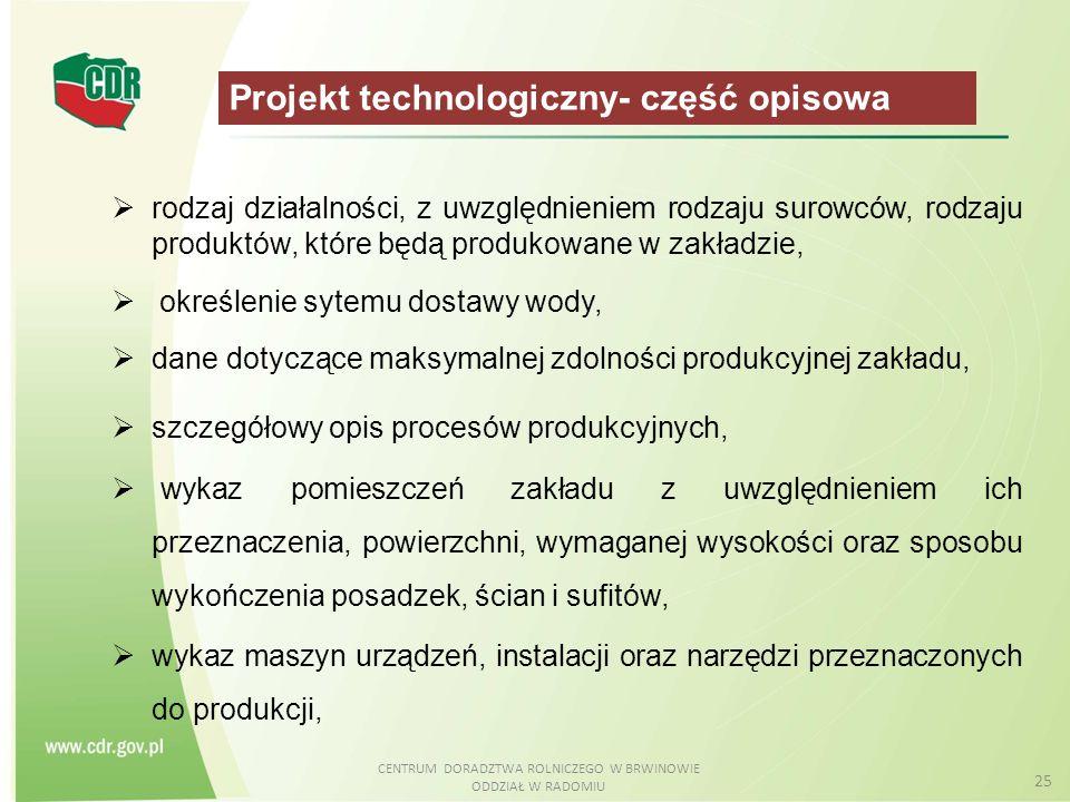 CENTRUM DORADZTWA ROLNICZEGO W BRWINOWIE ODDZIAŁ W RADOMIU 25 Projekt technologiczny- część opisowa  rodzaj działalności, z uwzględnieniem rodzaju su