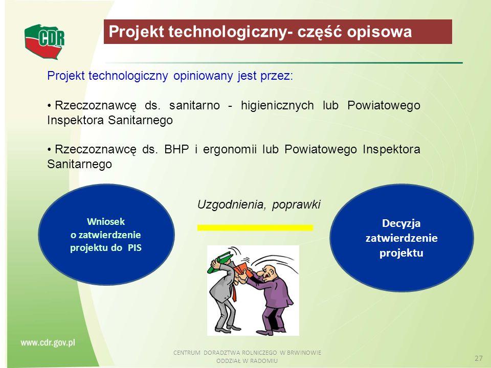 CENTRUM DORADZTWA ROLNICZEGO W BRWINOWIE ODDZIAŁ W RADOMIU 27 Projekt technologiczny- część opisowa Wniosek o zatwierdzenie projektu do PIS Decyzja za