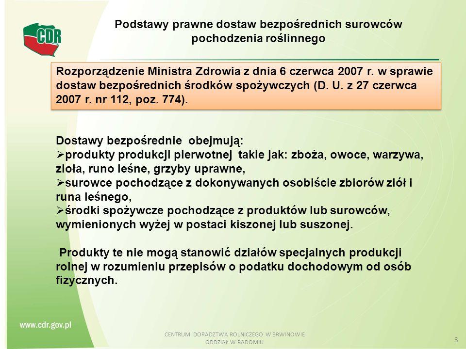 CENTRUM DORADZTWA ROLNICZEGO W BRWINOWIE ODDZIAŁ W RADOMIU 3 Rozporządzenie Ministra Zdrowia z dnia 6 czerwca 2007 r. w sprawie dostaw bezpośrednich ś