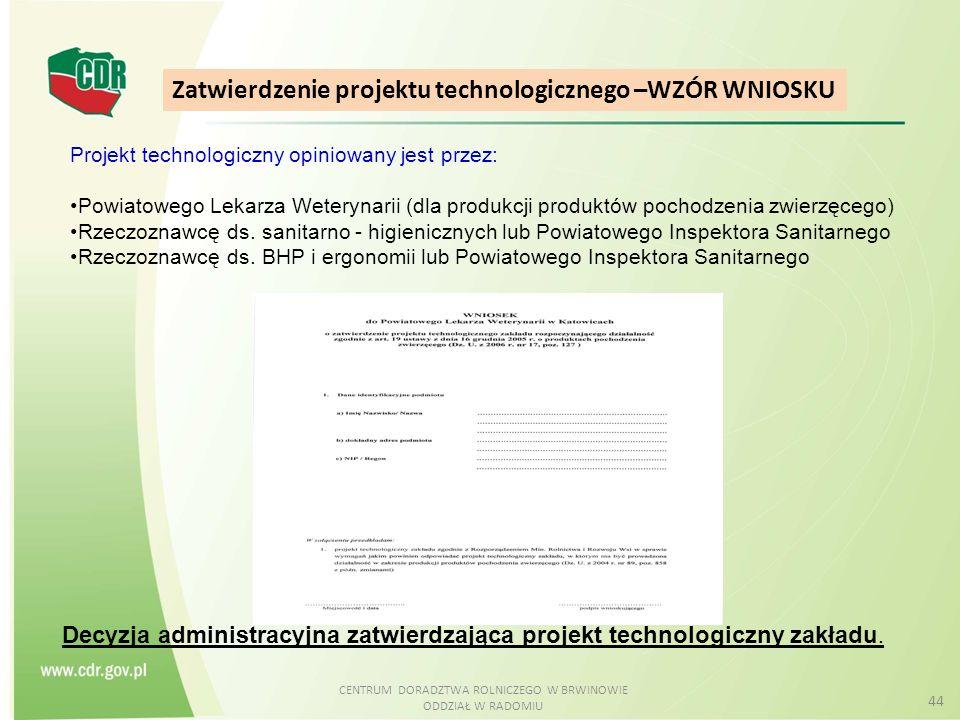 CENTRUM DORADZTWA ROLNICZEGO W BRWINOWIE ODDZIAŁ W RADOMIU 44 Zatwierdzenie projektu technologicznego –WZÓR WNIOSKU Decyzja administracyjna zatwierdza