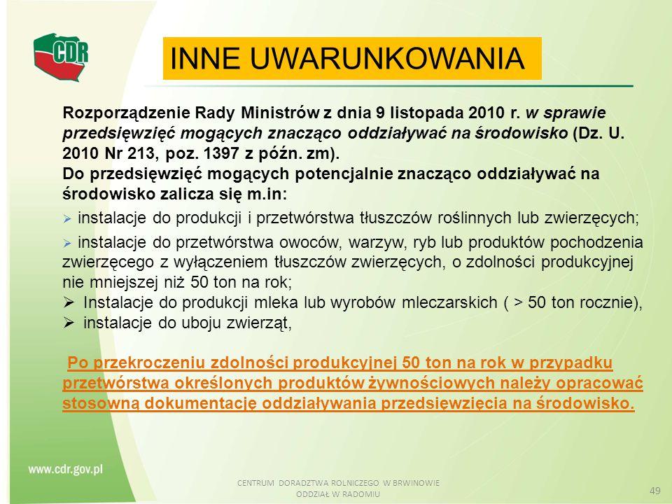 CENTRUM DORADZTWA ROLNICZEGO W BRWINOWIE ODDZIAŁ W RADOMIU 49 INNE UWARUNKOWANIA Rozporządzenie Rady Ministrów z dnia 9 listopada 2010 r. w sprawie pr
