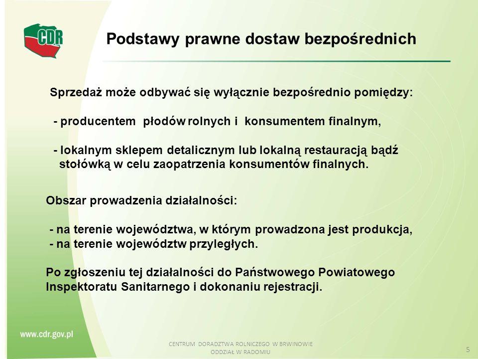 CENTRUM DORADZTWA ROLNICZEGO W BRWINOWIE ODDZIAŁ W RADOMIU 5 Obszar prowadzenia działalności: - na terenie województwa, w którym prowadzona jest produ