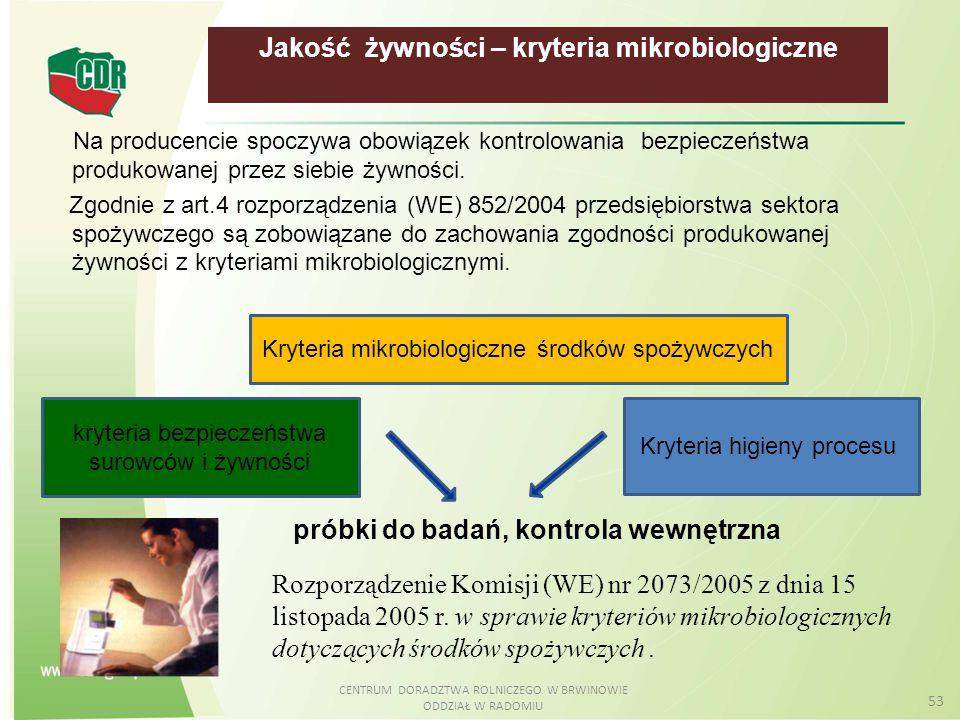 CENTRUM DORADZTWA ROLNICZEGO W BRWINOWIE ODDZIAŁ W RADOMIU 53 Jakość żywności – kryteria mikrobiologiczne Na producencie spoczywa obowiązek kontrolowa